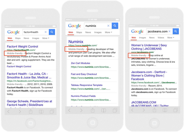 Mobile Friendly label on Google Search results