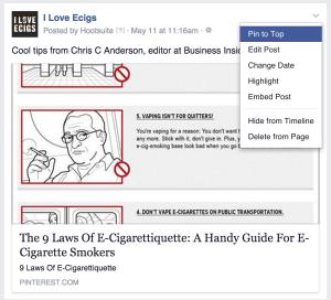Facebook pin to top